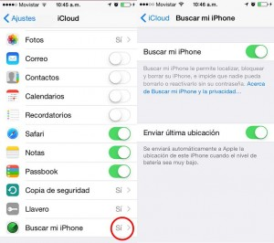 ajustes para buscar iphone perdido
