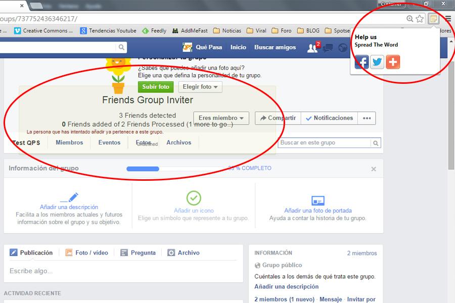 Invitar Todos los Amigos a un Gurpo de Facebook - QPS